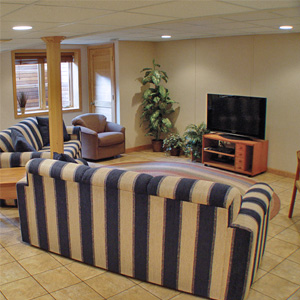 A Finished Basement Living Room Area in Waconia, MN