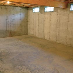 A cleaned out basement in Edina, shown before remodeling has begun