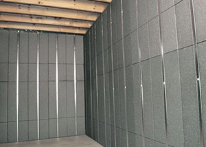 SilverGlo™ insulation and metal studs making up our Basement to Beautiful™ panels.  Installed in Golden Valley.
