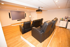 a basement turned into a home theater in minneapolis